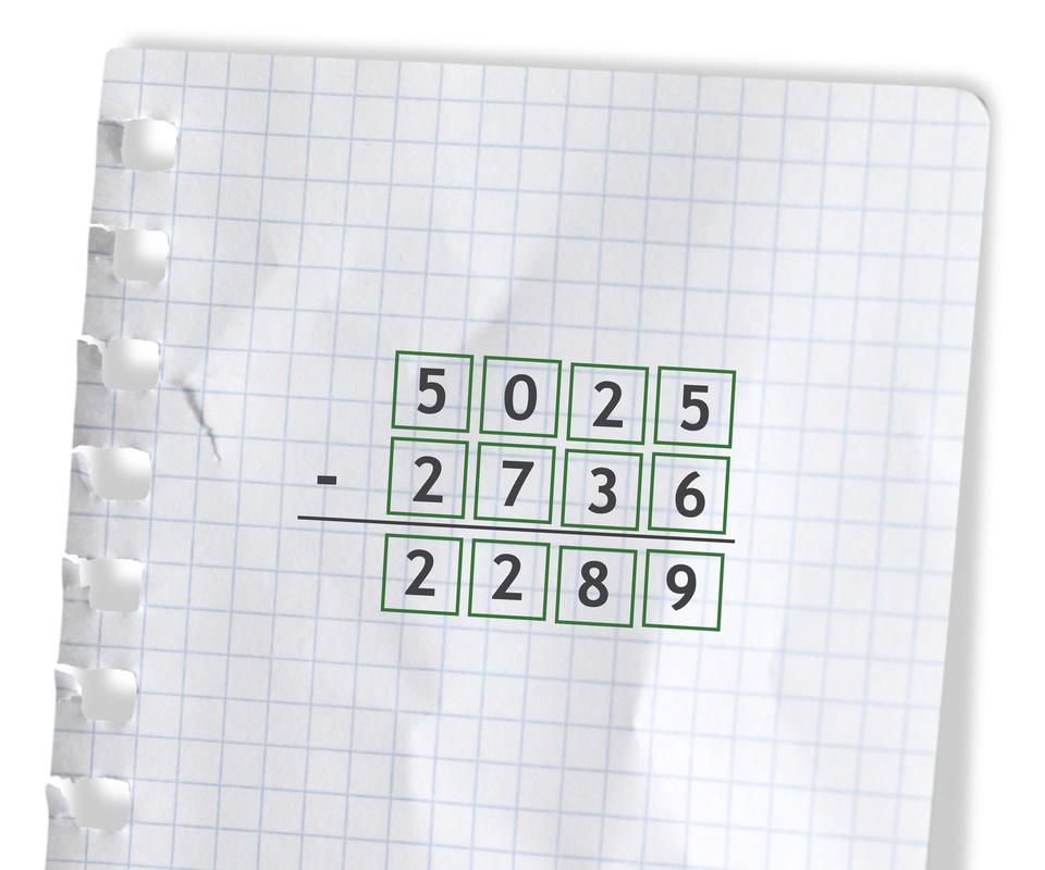 Przykład: 5025 -2736 =2289. Rozwiązanie zadania podpunkt b.