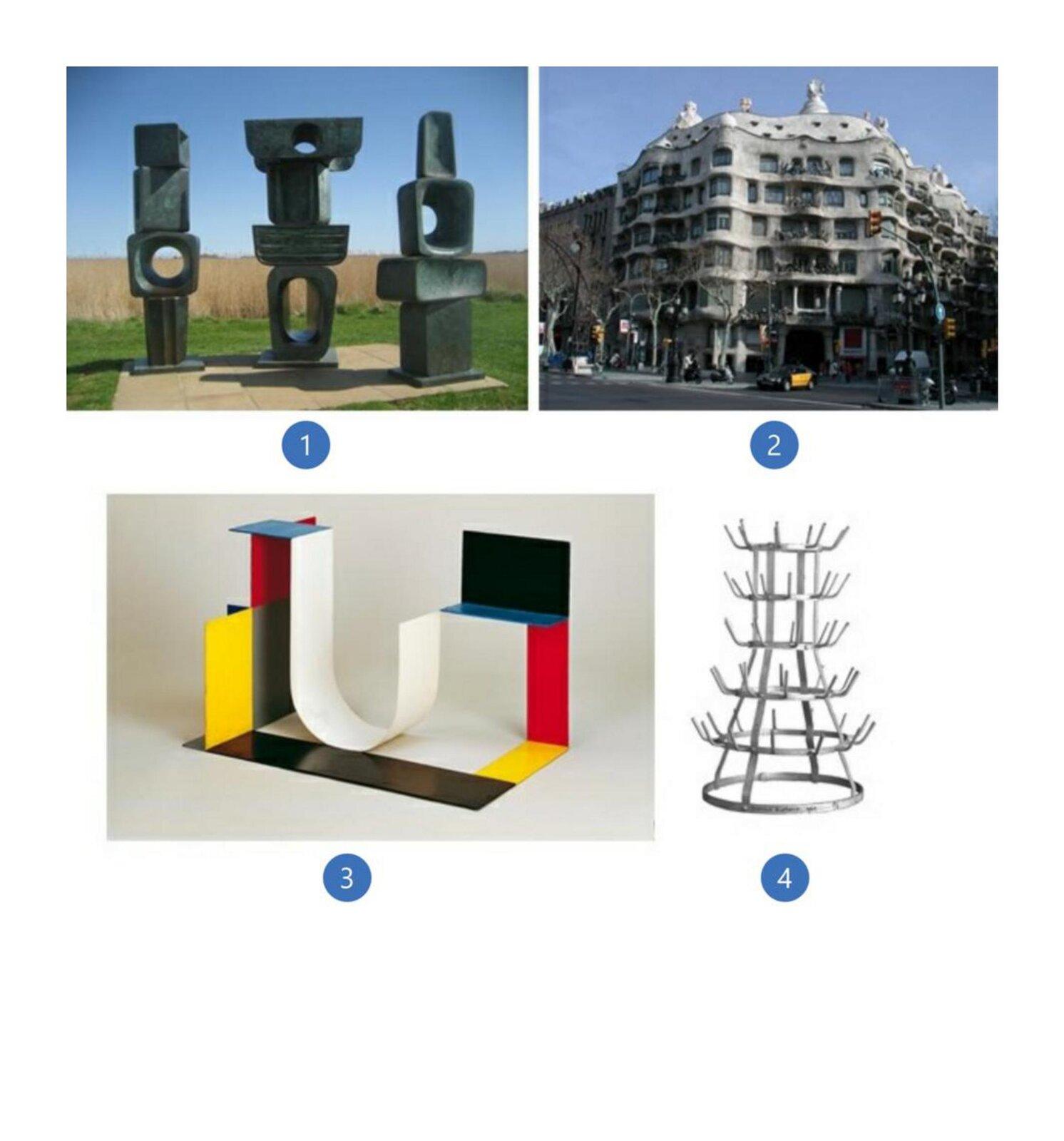 """Pierwsze zdjęcie to abstrakcyjna rzeźba zbrązu pt. """"Rodzina Człowiecza"""". Są to trzy posągi. Każdy znich składa się zczterech części przypominających duże kamienie. Są one wróżnych kształtach iwielkościach. Niektóre znich mają otwory różnej wielkości. Konstrukcja stoi na ułożonym zpłyt podeście. Drugie zdjęcie to budynek. Jest wielokondygnacyjny ima nieregularny kształt. Okna są duże, afasada budynku przypomina fale morskie. Wygląda ciężko imonumentalnie choć wzniesiona jest zcienkich wapiennych płyt. Balkony zdobią kute zżelaza balustrady przybierające kształt dzikich chaszczy. Ozdobą fasady głównej są również specjalnie rozmieszczone ptaki, które maja sprawiać wrażenie szykujących się do odlotu. Trzecie zdjęcie to abstrakcyjna rzeźba zmetalu. Kompozycja składa się zprostokątnych fragmentów wróżnych kolorach ioróżnej wielkości połączonych między sobą jedną krawędzią. Prostokąty są wkolorach żółtym, czarnym, czerwonym iniebieskim. Wcentralnej części jest jeden fragment który został wygięty wkształcie odwróconej litery j. Jest wkolorze białym. Czwarte zdjęcie to metalowa konstrukcja składająca się zsześciu okręgów oróżnej wielkości połączonych ze sobą. Okręgi układają się poziomo. Na spodzie jest największy okrąg, akolejne są coraz mniejsze. Koła połączone są czterema wygiętymi, metalowymi listwami stojącymi wpionie. Zokręgów, za wyjątkiem pierwszego wystają metalowe pręty, które przypominają wieszaczki. Są umiejscowione wodstępach dookoła okręgu."""