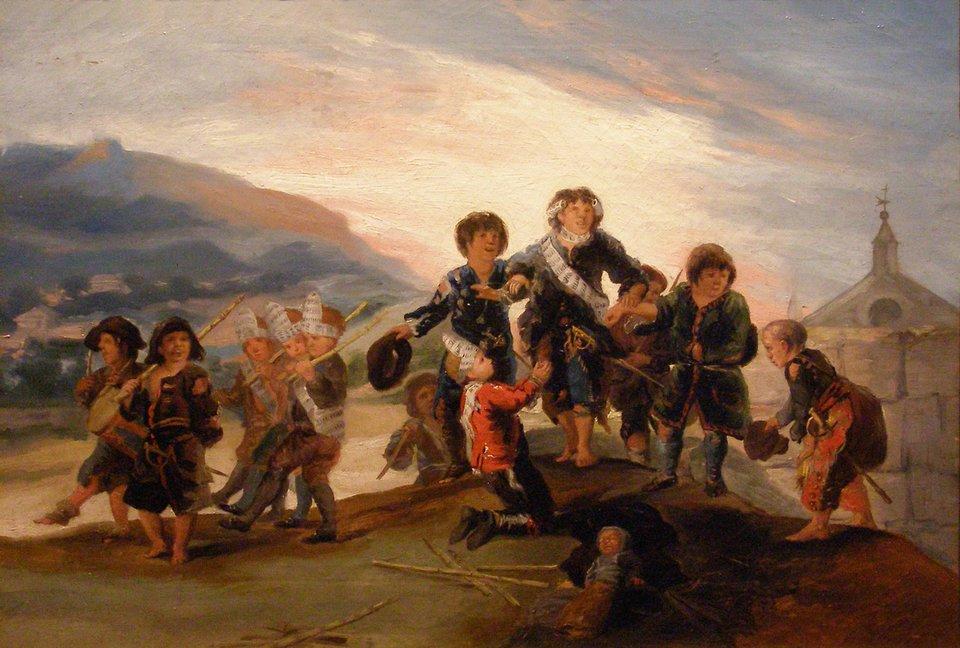 Zabawy dziecięce Dzieci bawiące się wżołnierzy Źródło: Francisco Goya, Zabawy dziecięce, 1782–1785, domena publiczna.