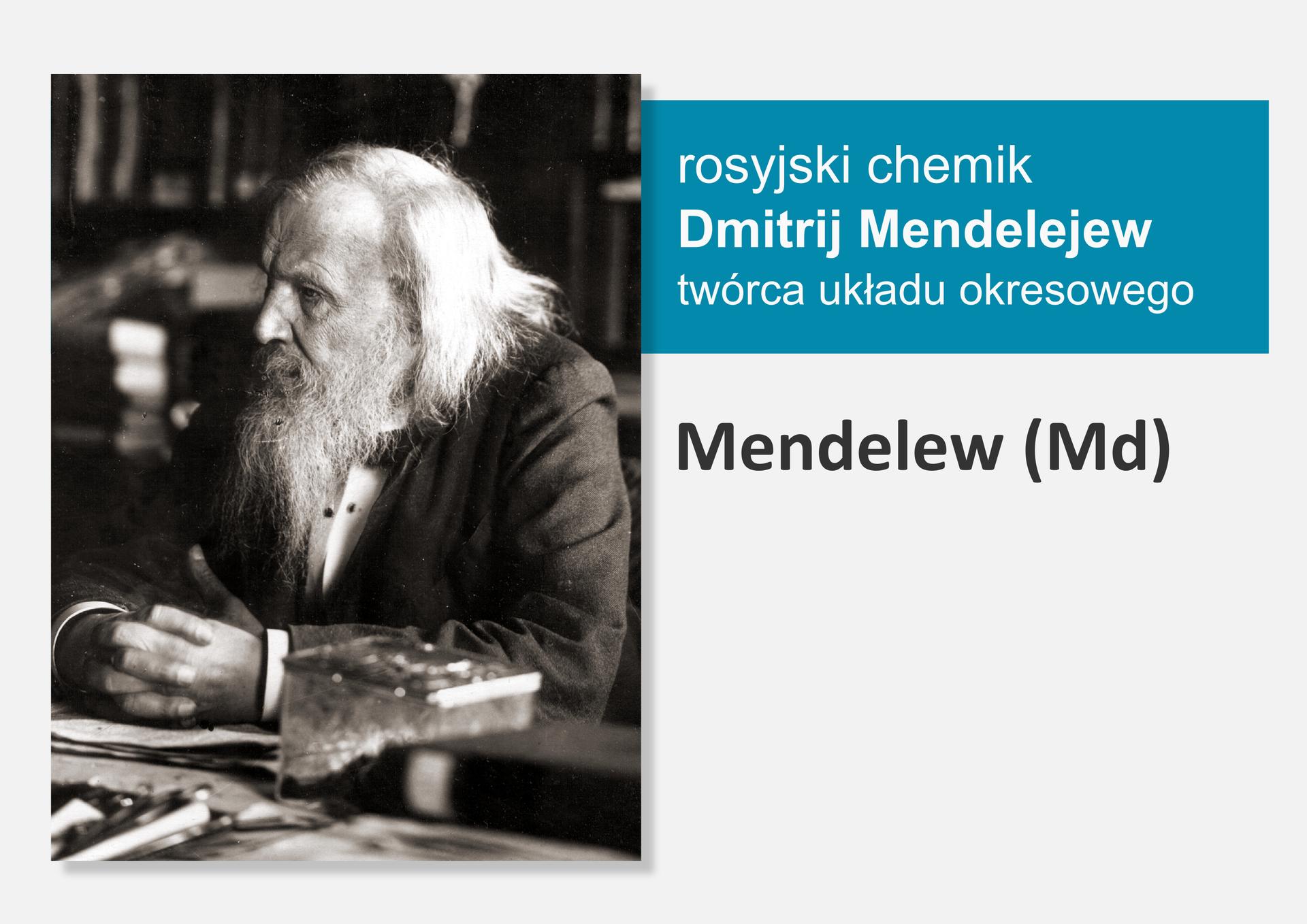 Fotografia rosyjskiego chemika Dmitrija Mendelejewa, obok nazwa isymbol pierwiastka Mendelew (Md)