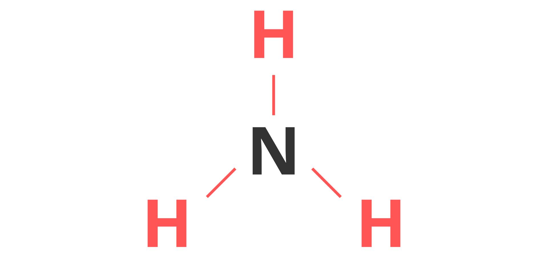 Ilustracja przedstawia schemat określania wartościowości atomu na przykładzie wodoru wcząsteczce amoniaku. Na obrazku widoczny jest ten sam wzór strukturalny co poprzednio, jednak symbole wodoru oraz odchodzące od nich wiązania zostały wyróżnione kolorem czerwonym.