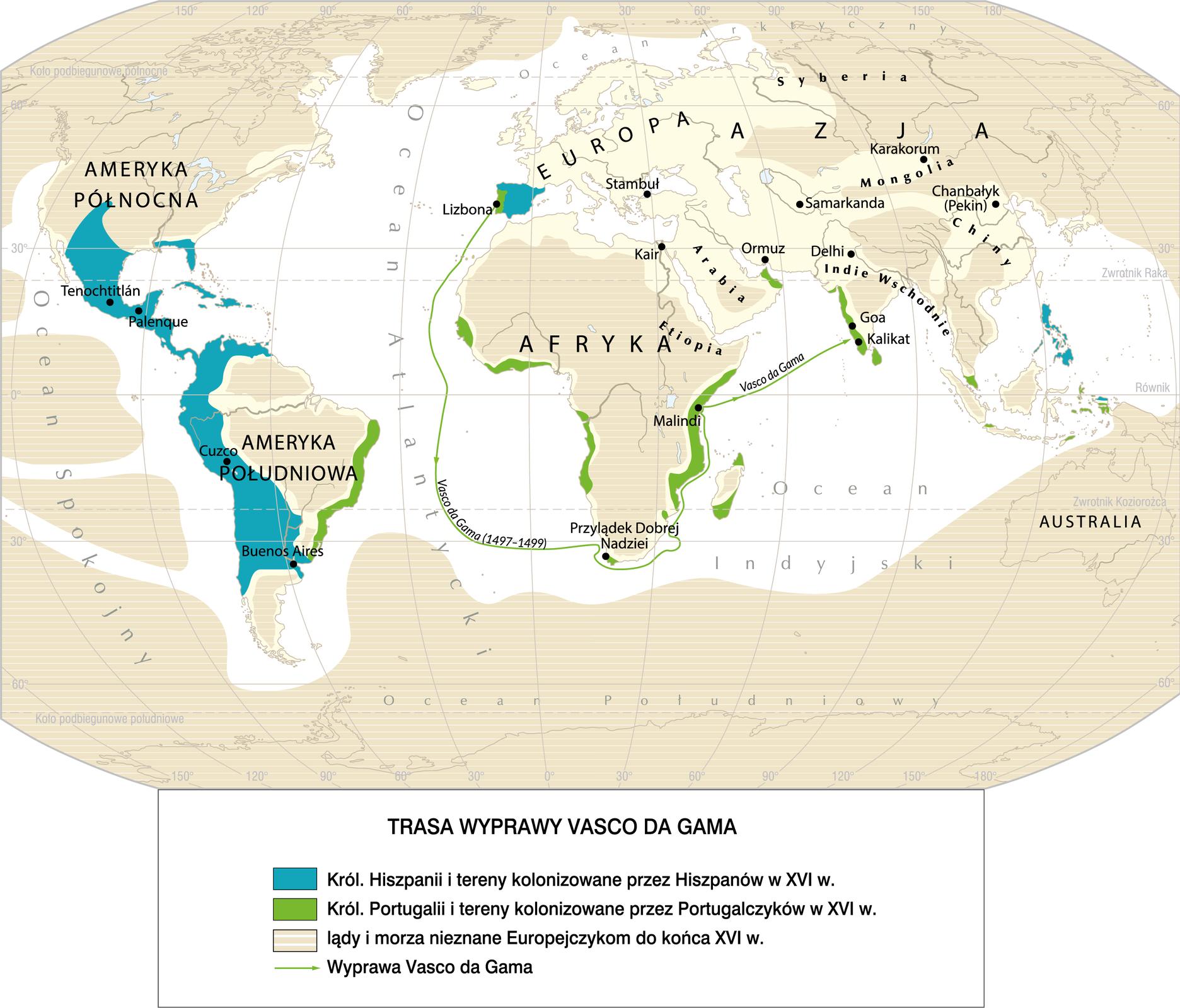 rysunek przedstawia mapę zzaznaczoną trasą wyprawyVasco da Gamy