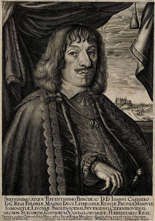 Portret króla Jana Kazimierzawykonany przez tego samego artystę. Portret króla Jana Kazimierzawykonany przez tego samego artystę. Źródło: Willem Hondius, 1649, domena publiczna.