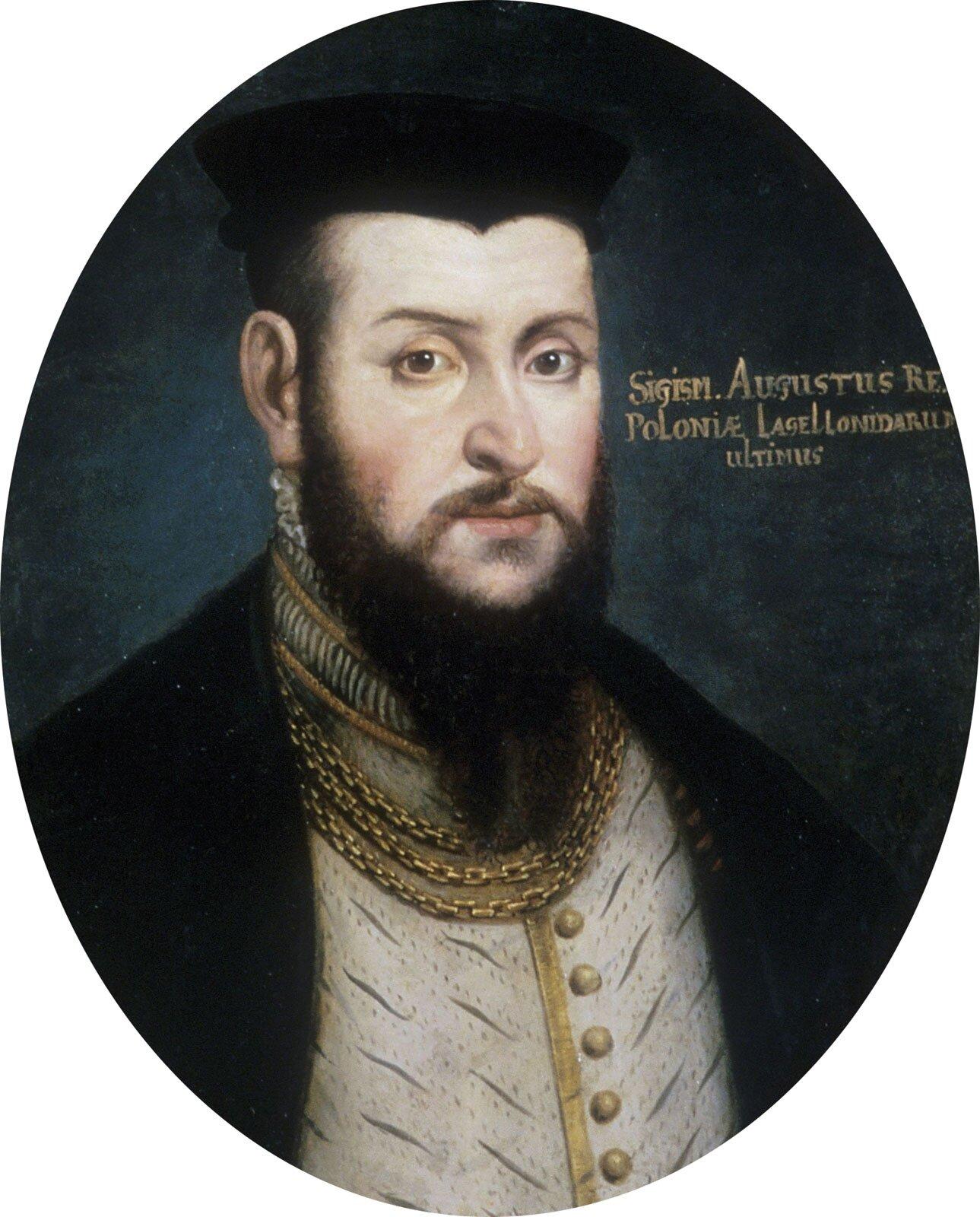 Zygmunt August. Zygmunt August, mimo że był trzykrotnie żonaty, nie pozostawił męskiego potomka. Był ostatnim królem zdynastii Jagiellonów Źródło: Zygmunt August., przed rokiem 1554, olej na miedzi.