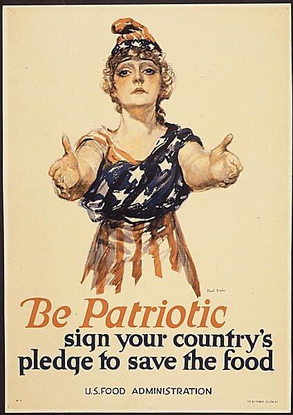 Iwojna światowa, kobiece uosobienie Stanów Zjednoczonych Źródło: Paul Stahr, Iwojna światowa, kobiece uosobienie Stanów Zjednoczonych, 1917-1918, domena publiczna.