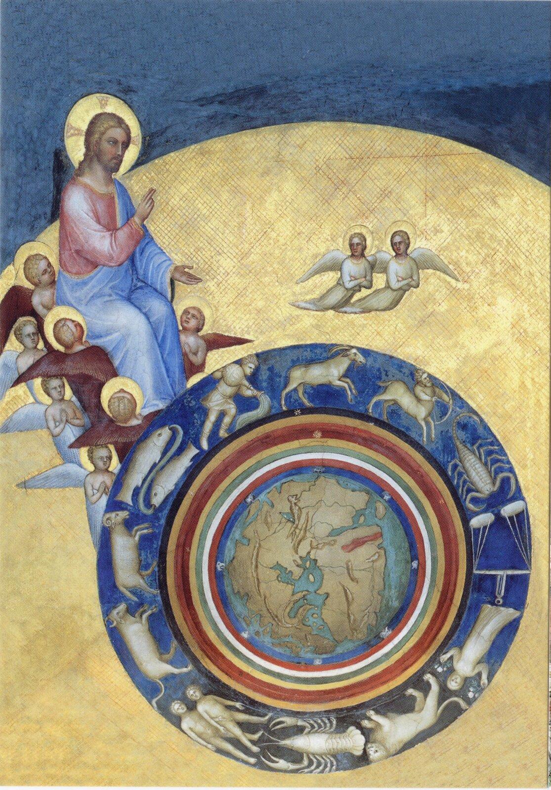 Stworzenie Świata (Chrystus jako Pan czasu kosmicznego) Źródło: Giusto de' Menabuoi, Stworzenie Świata (Chrystus jako Pan czasu kosmicznego), 1376–1378, fresk, Bazylika Katedralna Matki Bożej Wniebowziętej, Padwa, domena publiczna.