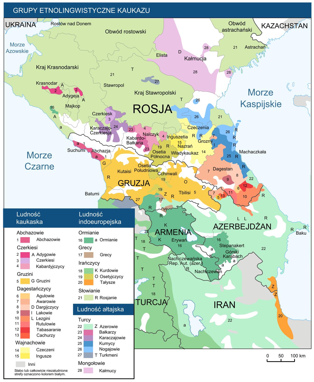 Na mapie kolorowymi plamami wobrębie lądu pokazano duże zróżnicowanie etnolingwistyczne ludności Kaukazu. Użyto dwudziestu ośmiu kolorów. Plamy kolorów rozkładają się nieregularnie. Wlegendzie objaśniono kolory. Zlewej strony przedstawionego obszaru Morze Czarne. Zprawej strony – Morze Kaspijskie.