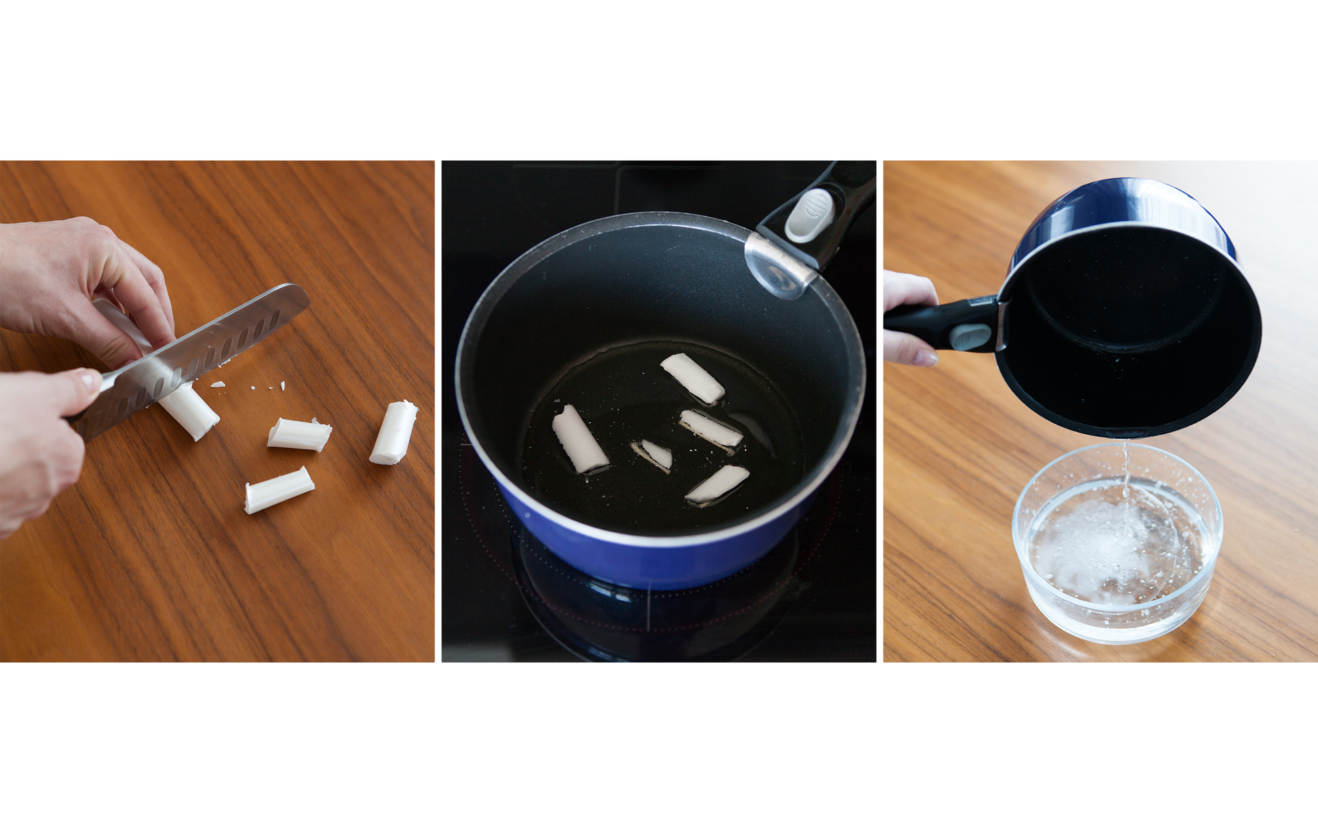 Ilustracja prezentuje trzy zdjęcia umieszczone obok siebie. Na pierwszym od lewej prezentowany jest proces cięcia świecy na drobne kawałki. Na środkowym kawałki te podgrzewane są wrondelku na płycie kuchennej. Trzecie zdjęcie ilustruje przelanie całkowicie roztopionego wosku do przezroczystego naczynia zwodą. Wwodzie widać smugi ponownie zestalonej substancji.