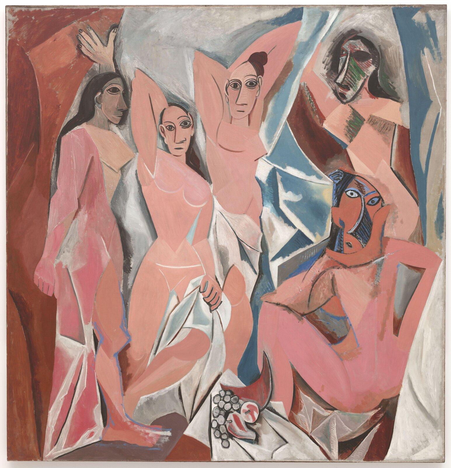 """Ilustracja przedstawia obraz Pablo Picasso pt. """"Panny zAwinionu"""". Obraz powstał w1907 roku. Jest to jeden znajbardziej znanych obrazów Pabla Picassa. Przedstawionych zostało pięć nagich kobiet zulicy d'Avinyo wBarcelonie. Kolorystyka obrazu jest utrzymana wciepłej tonacji kolorystycznej. Znaczną przewagę ma tutaj kolor pomarańczowy. Na obrazie możemy dostrzec cechy charakterystyczne dla kubizmu - sylwetki bohaterek są zgeometryzowane, aich twarze przypominają afrykańskie maski."""