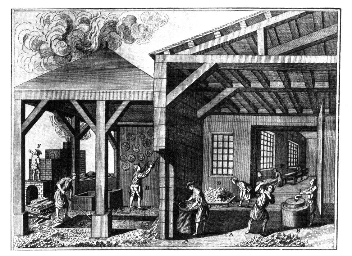 Czarno-biały obrazek przedstawiający ludzi pracujących wewnątrz drewnianych zabudowań. obok zabudowań jest zcegieł piec, zktórego wydobywa się dym