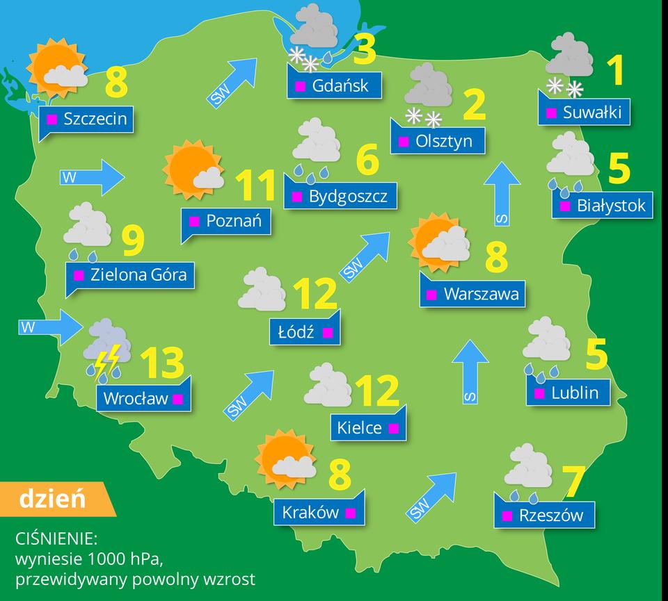 Ilustracja przedstawia mapę pogodową Polski. Na powierzchni mapy znajdują się symbole wformie piktogramów. Obrazki niebieskiej chmury wskazują zachmurzenie, obrazy niebieskiej chmury zkroplami poniżej to pogoda deszczowa, symbole białych śnieżynek to opad śniegu. Na mapie są również liczby podające wysokość temperatury wskali Celsjusza. Niebieskie małe strzałki wskazują grotem kierunek wiatru. Obok strzałek liczba wskazuje prędkość wiatru wmetrach na sekundę. Na mapie podane są nazwy większych miast.