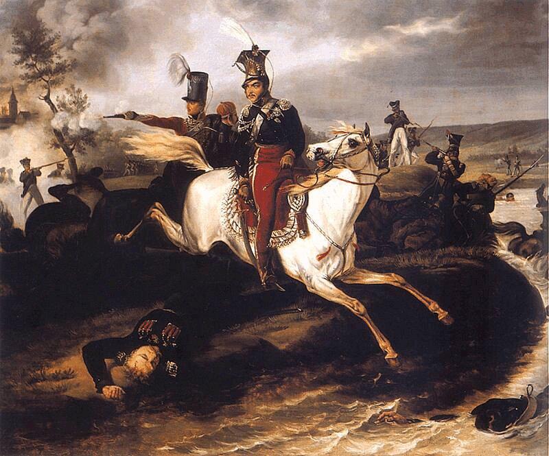 Śmierć księcia Józefa Poniatowskiego Źródło: January Suchodolski, Śmierć księcia Józefa Poniatowskiego, przed 1830, domena publiczna.