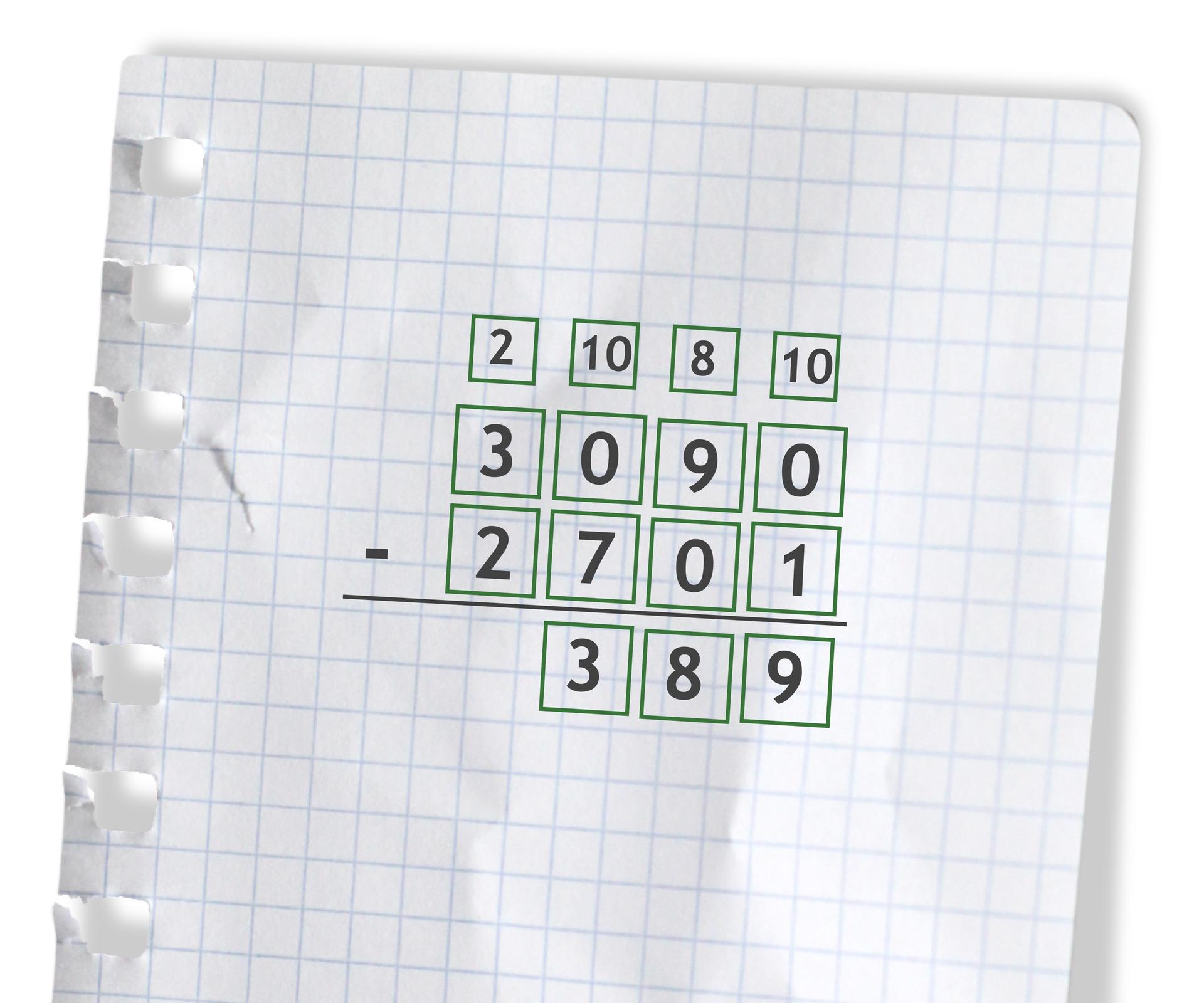 Przykład: 3090 - 2701 =389. Rozwiązanie zadania podpunkt e.
