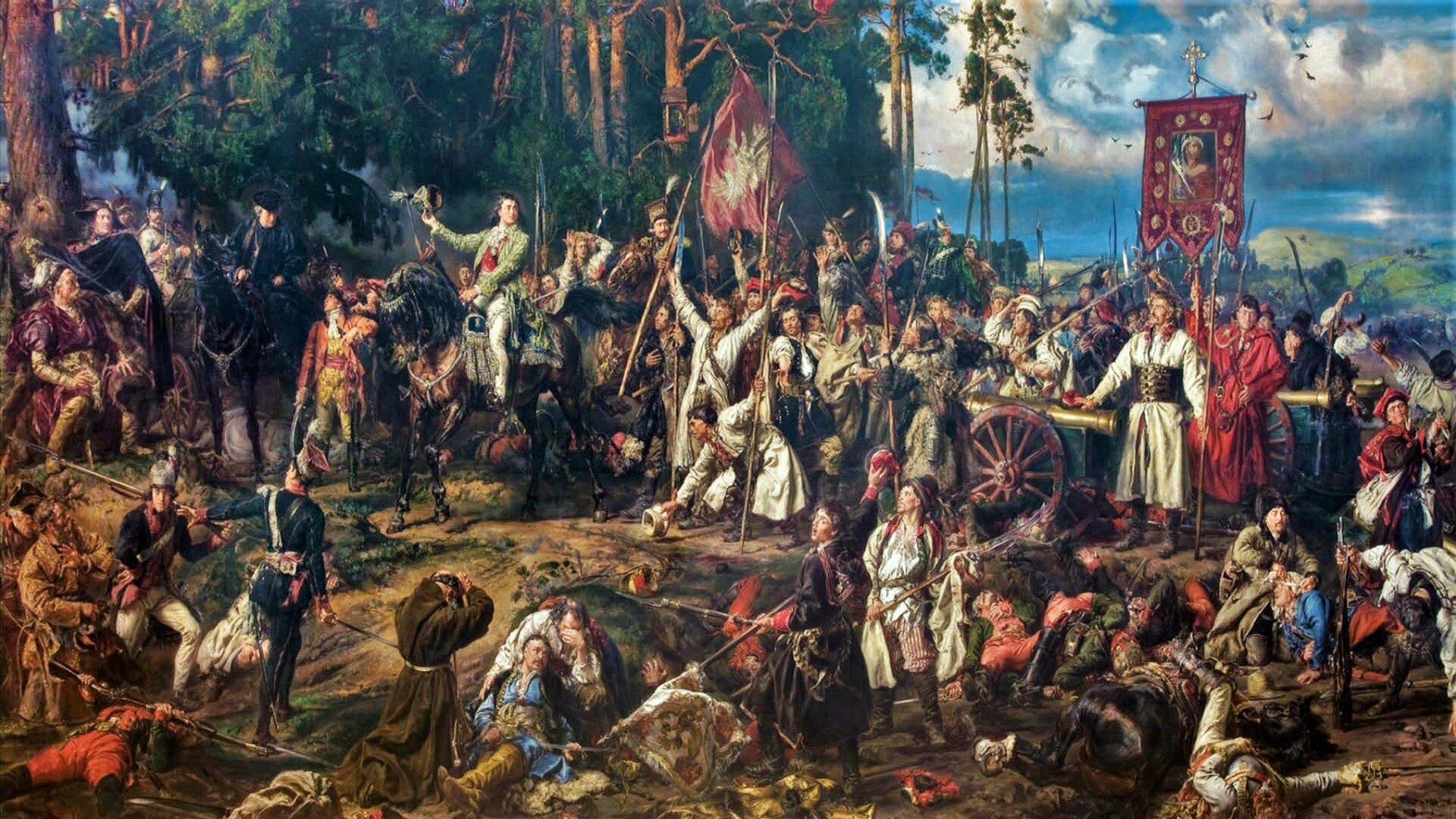 """Ilustracja przedstawia obraz olejny """"Bitwa pod Racławicami"""" autorstwa Jana Matejki. Wielopostaciowa  kompozycja upamiętnia stoczoną w1794 roku bitwę pod Racławicami. Wojska polskie zwarły się wówczas zwojskami rosyjskimi pod dowództwem Tadeusza Kościuszki. Namalowany przez artystę obraz ukazuje scenę po bitwie. Na pierwszym planie znajduje się fragment pola bitewnego zpoległymi irannymi. Wśrodkowej części kompozycji przedstawiony został Kościuszko na koniu, który zdejmując czapkę spogląda na stojącego przy armacie chłopa. Mężczyzną tym jest Bartosz Głowacki, który wsławił się szczególną odwagą na polu bitwy. Scena wypełniona jest tłumem postaci chłopów, żołnierzy iszlachty, pośrodku których stoi człowiek wbiałej sukmanie zchorągwią zpolskim białym orłem. Na drugim planie, artysta namalował potężne drzewa osoczyście zielonych koronach, za którymi po prawej stronie rozpościera się panorama pagórkowatych pól ze zwisającym nad nimi pochmurnym niebem."""
