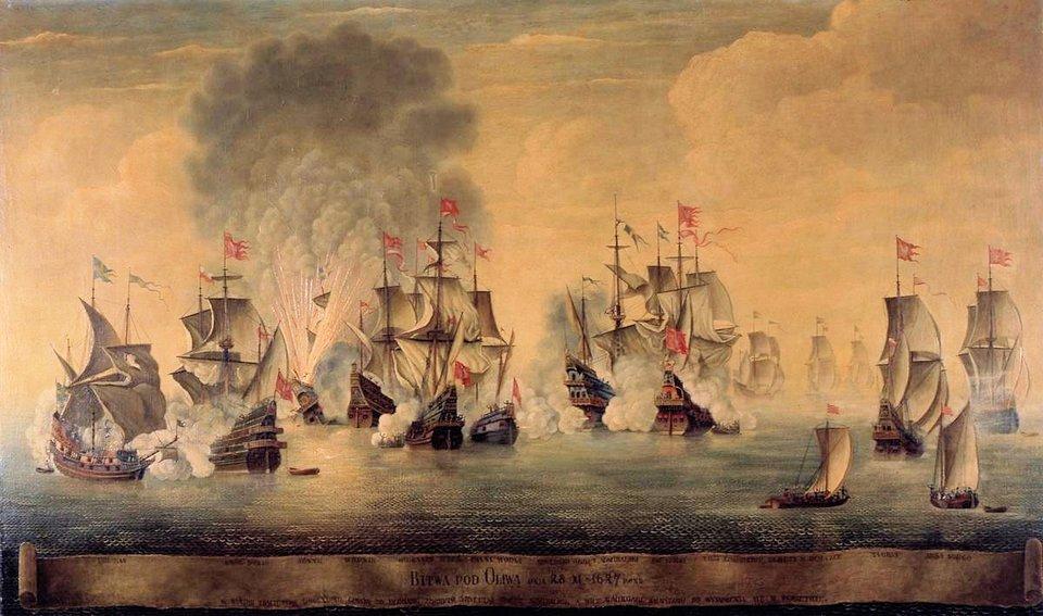Na obrazie przedstawiona jest bitwa morska, wktórej bierze udział 13 okrętów: 6pod banderą szwedzką i7 pod banderą polską. Oprócz tego widać jeszczedwie mniejsze polskiełodzie, prawdopodobnie zżołnierzami zamierzającymi dokonać abordażu na uszkodzony okręt szwedzki.