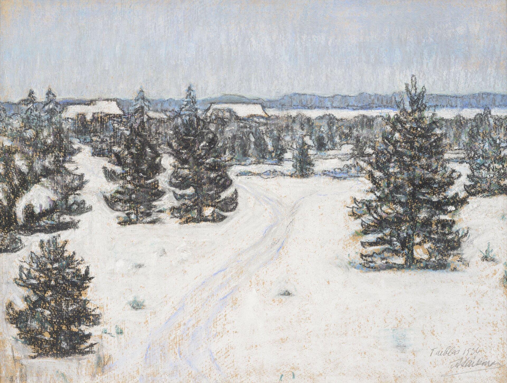 """Ilustracja przedstawia obraz olejny """"Krajobraz Taebla"""" autorstwa Antsa Laikmaa. Dzieło ukazuje zimowy pejzaż. Na pierwszym planie znajdują się ciemno-zielone sylwetki choinek na białym tle śniegu. Woddali, na tle szaro-niebieskiego lasu rysują się białe dachy domów. Nad krajobrazem góruje pas szaro-błękitnego, płaskiego nieba. Kompozycja utrzymana jest wchłodnej, szaro-niebieskiej tonacji. Praca została wykonana techniką pasteli na papierze."""