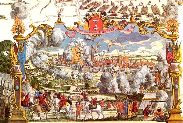 II w. Oblężenie Gdańska w1734 r. według grafiki zXVIII w. Źródło: II w., po 1734, domena publiczna.
