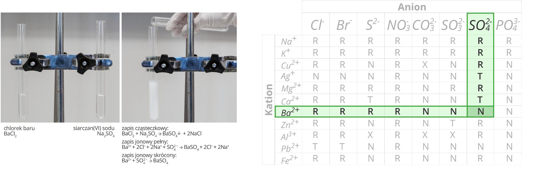 Ilustracja składa się zdwóch zdjęć oraz tabeli umieszczonych wjednym szeregu obok siebie. Zdjęcia dodatkowo zaopatrzone są wpodpisy. Pierwsze zdjęcie zlewej strony przedstawia dwie probówki unieruchomione wpodwójnej łapie statywu. Podpis pod lewą probówką informuje, że znajdującą się wniej bezbarwną cieczą jest roztwór chlorku baru owzorze BaCl2. Podpis pod prawą probówką informuje, że bezbarwna ciecz wewnątrz naczynia to roztwór siarczanu sześć sodu owzorze Na2SO4. Drugie zdjęcie przedstawia moment przelewania zawartości prawej probówki do lewej. Zachodzi reakcja wwyniku której wytrąca się biały osad. Poniżej zapis przebiegu tej reakcji wpostaci cząsteczkowej, jonowej pełnej ijonowej skróconej. Wynika znich, że wwyniku przereagowania chlorku baru zsiarczanem sześć sodu powstają siarczan sześć baru, który wytrąca się wpostaci osadu oraz dwa atomy chlorku sodu. Cechą szczególną tej akcji jest to, że biorą wniej udział tak naprawdę tylko wolne jony Ba dwa plus oraz SO4 dwa minus, które łącząc się ze sobą tworzą związek nierozpuszczalny wwodzie. Trzecia część ilustracji, zajmująca całą jej prawą stronę to znana zpoprzednich lekcji tabela rozpuszczalności zzaznaczonym na różowo wierszem dla kationu baru oraz kolumną dla anionu grupy siarczanowej sześć. Pole znajdujące się na skrzyżowaniu tego wiersza ikolumny informuje nas, że BaSO4 jest związkiem nierozpuszczalnym wwodzie.