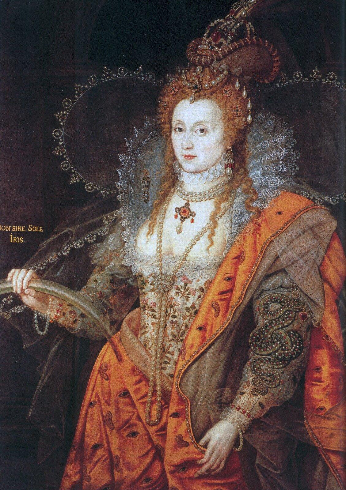 Tęczowy portret królowej Elżbiety IŹródło: Isaac Oliver, Tęczowy portret królowej Elżbiety I, ok. 1600–1602, olej na płótnie, kolekcja markiza Salisbury wHatfield House (Anglia), domena publiczna.