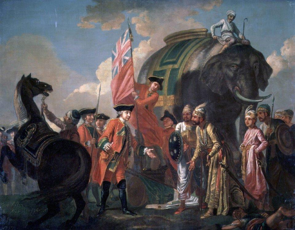 Robert Clive spotyka się zdowódcą Jafarem po bitwie pod Plessy w1757 r. Robert Clive spotyka się zdowódcąJafarem po bitwie pod Plessy w1757 r. Obraz namalowany przez Francisa Haymana; znajduje się wNarodowej Galerii Portretu wLondynie. Źródło: Francis Hayman, Robert Clive spotyka się zdowódcą Jafarem po bitwie pod Plessy w1757 r., ok. 1760, olej na płótnie, National Portrait Gallery, domena publiczna.
