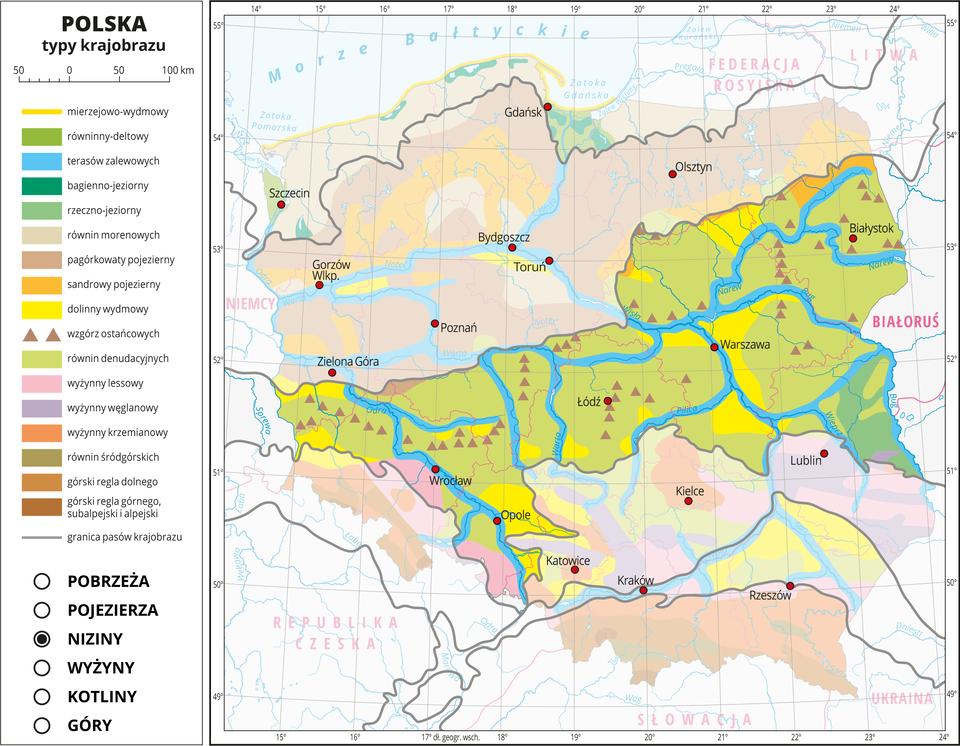 Ilustracja przedstawia mapę Polski. Na mapie za pomocą kolorów przedstawiono typy krajobrazu. Na mapie przedstawiono iopisano rzeki ijeziora, miasta, przedstawiono granice Polski igranice województw, opisano nazwy państw sąsiadujących. Szarymi liniami przedstawiono granice pasów krajobrazu. Mapa składa się zwarstw, które można dowolnie wyłączać. Na kolejnych warstwach przedstawiono jakie typy krajobrazu występują wposzczególnych pasach rzeźby terenu, wśród których wydzielono: pobrzeża, pojezierza, niziny, wyżyny, kotliny igóry. Warstwa nizin: Wpasie nizin przeważa kolor jasnozielony obrazujący krajobraz równin denudacyjnych, oznaczony kolorem żółtym krajobraz dolinny wydmowy. Kolorem niebieskim przedstawiono krajobraz terasów zalewowych wdolinach rzek. Liczne są wzgórza ostańcowe przedstawione za pomocą sygnatury trójkąta. Na styku zpasem gór wzachodniej część Polski występuje krajobraz wyżynny lessowy oznaczony kolorem różowym.
