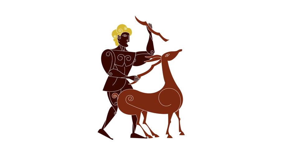 Jednym zzadań herosa było złapanie łani ze złotymi rogami. Łania była bardzo zwinna, Herakles ścigał ją przez cały rok. Wkońcu, gdy przechodziła przez rzekę, zranił ją lekko strzałą itak osłabioną uwięził Jednym zzadań herosa było złapanie łani ze złotymi rogami. Łania była bardzo zwinna, Herakles ścigał ją przez cały rok. Wkońcu, gdy przechodziła przez rzekę, zranił ją lekko strzałą itak osłabioną uwięził Źródło: Contentplus.pl sp. zo.o..