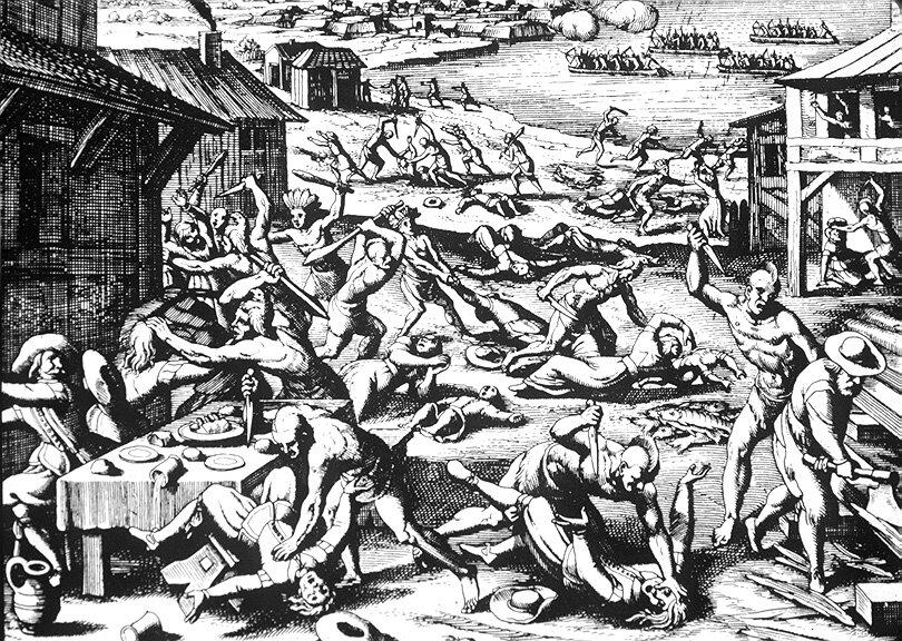 Ilustracja masakry Indian wJamestown w1622 r. Ilustracja masakry Indian wJamestown w1622 r. Źródło: Matthäus Merian Starszy, 1628, domena publiczna.