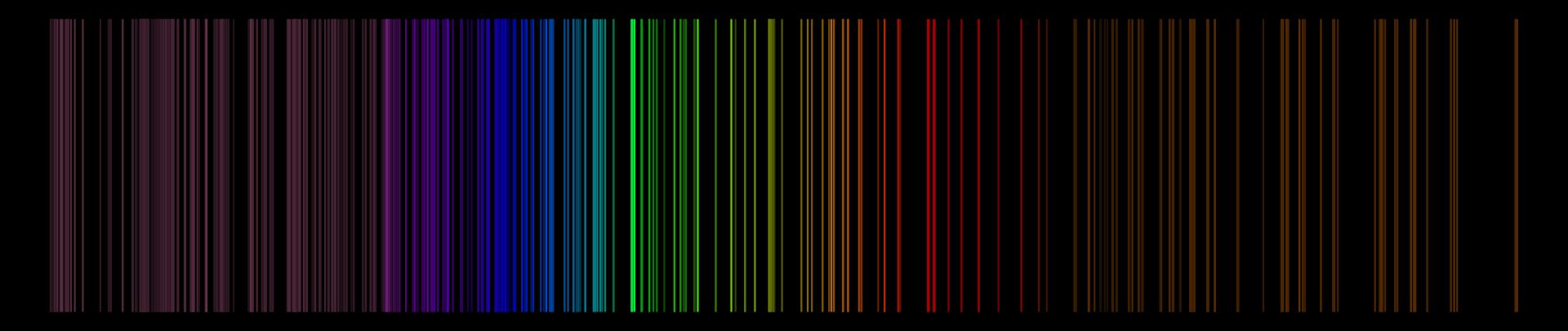 Ilustracja przedstawia widmo liniowe par Uranu. Czarny prostokąt. Na prostokącie narysowano wiele pionowych, różnobarwnych kreseczek. Barwy łagodnie przechodzą od ciemnofioletowej (wiśniowej), poprzez karmazynową, fioletową, granatową, niebieską, zieloną, seledynową, zielono-żółtą, pomarańczową, czerwoną, bordową, aż do brązowej.