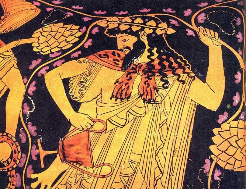 """Dionizos Oto """"portret"""" Dionizosa na greckiej wazie. Czy podana wyżej informacja, kim był Dionizos, pozwoliłaby rozpoznać go na tym naczyniu? Źródło: Dionizos, licencja: CC BY-SA 3.0."""