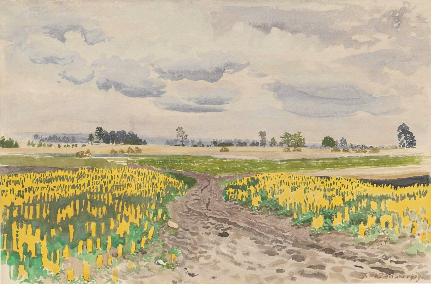 Łubin – droga polna Źródło: Stanisław Masłowski, Łubin – droga polna, 1909, akwarela, domena publiczna.