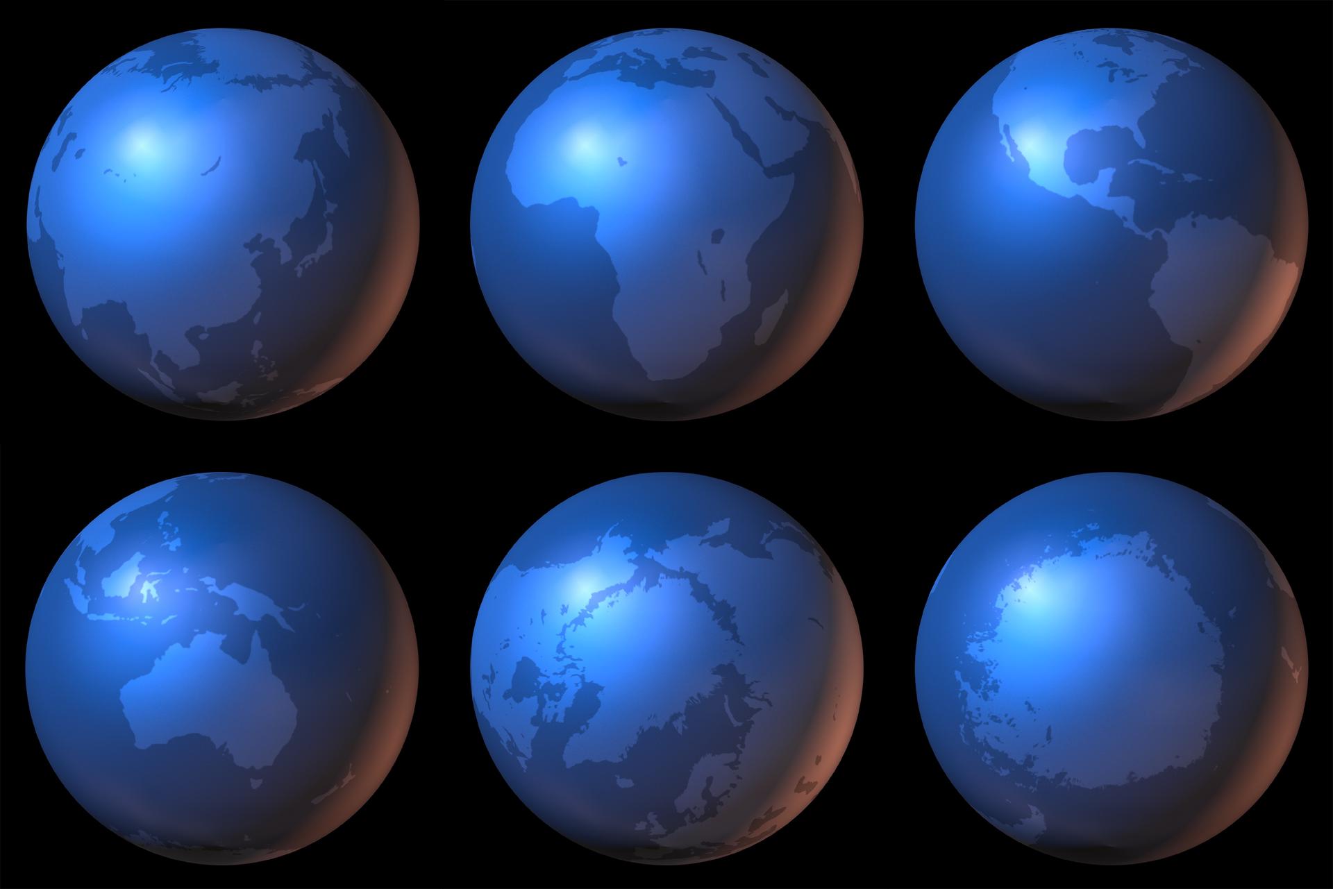 Na ilustracji sześć kul ziemskich wdwóch rzędach po trzy kule. Na każdej kuli inny kontynent.