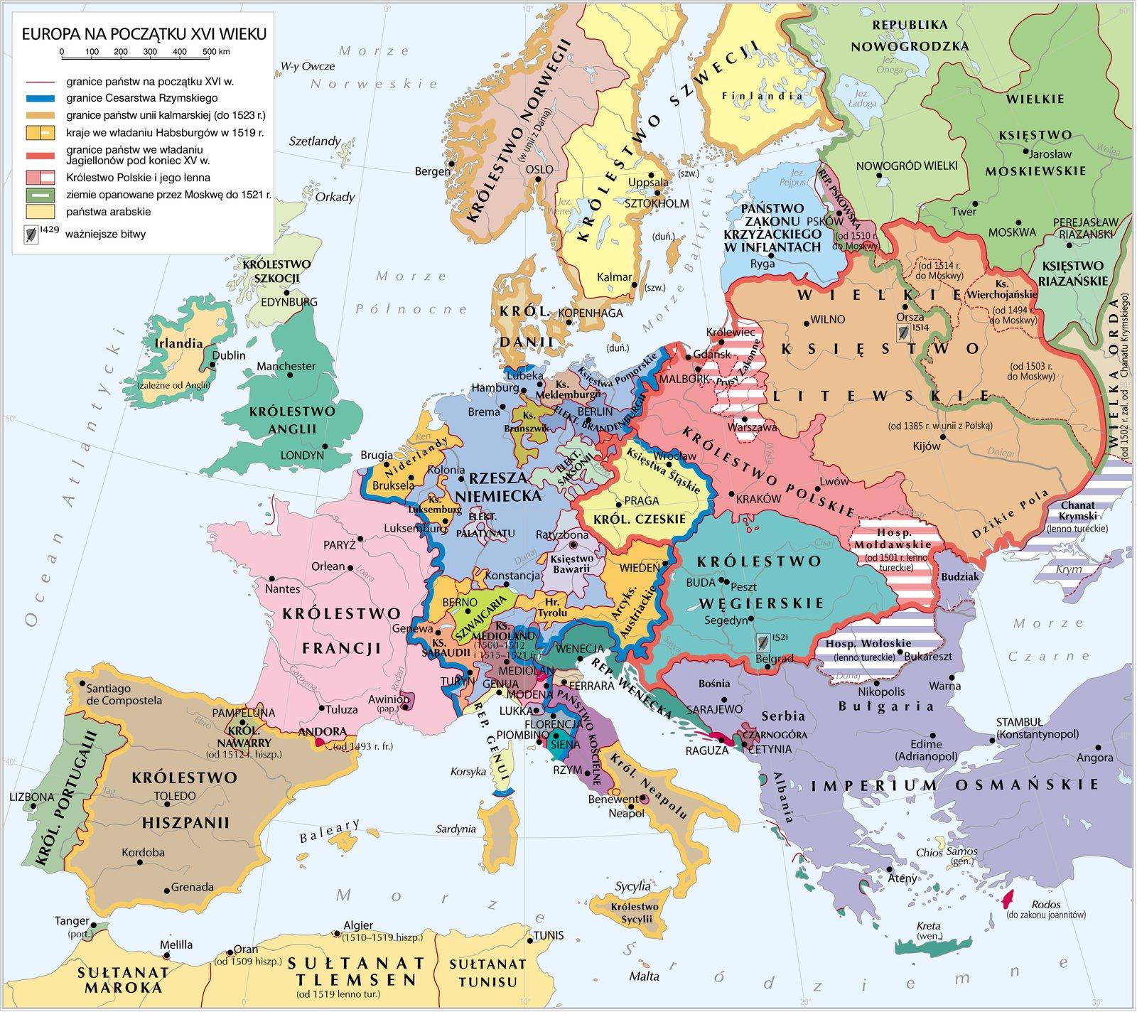 Europa na początku XVI w. Europa na początku XVI w. Źródło: Krystian Chariza izespół, licencja: CC BY 4.0.