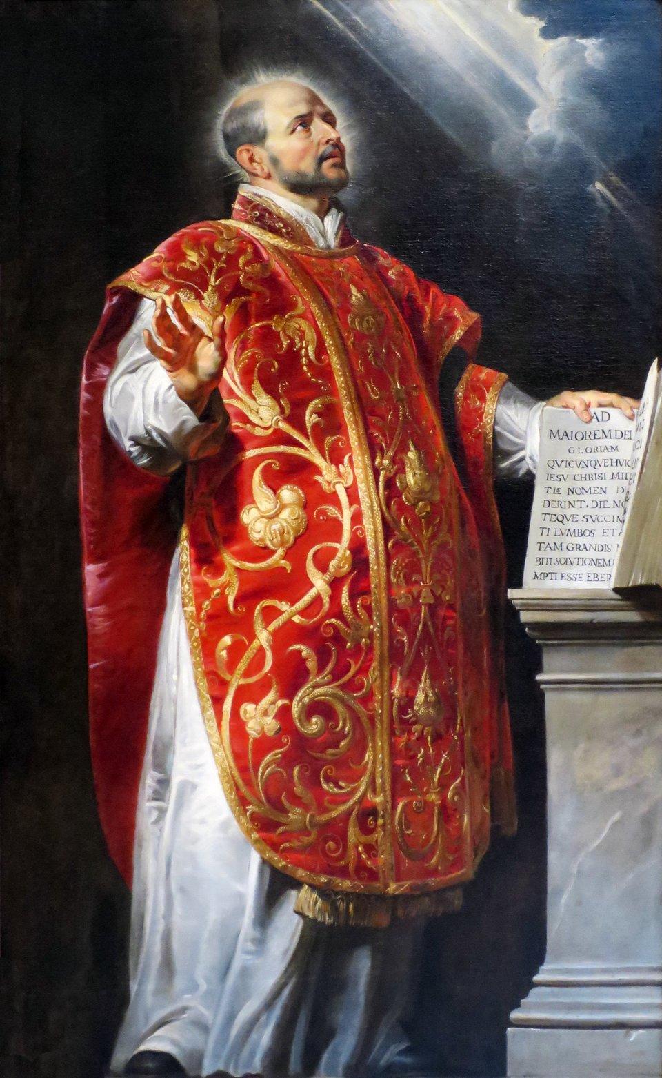 Obraz przedstawia św. Ignacego Loyolę, założyciela zakonu jezuitów Źródło: Peter Paul Rubens, Obraz przedstawia św. Ignacego Loyolę, założyciela zakonu jezuitów, ok. 1600, domena publiczna.