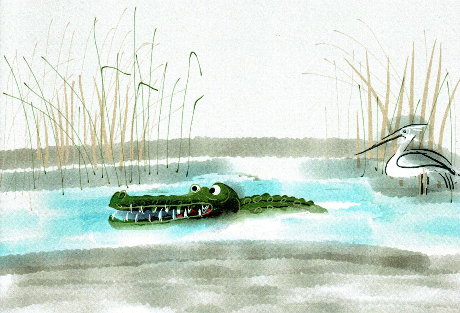 """Ilustracja przedstawia pracę Józefa Wilkonia zksiążki Rudyarda Kiplinga, """"Słoniątko"""". Ukazuje krokodyla oraz czaplę brodzącą wwodzie. Na drugim planie widoczna jest trzcina, awtle rozmyty las."""