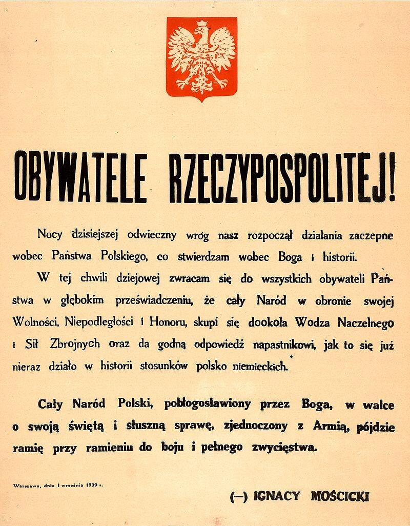 orędzie Mościckiego Źródło: domena publiczna.