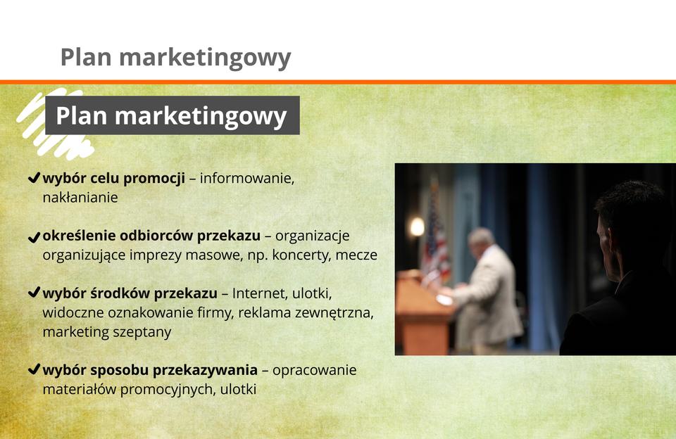 Grafika przedstawia elementy tworzenia planu marketingowego.