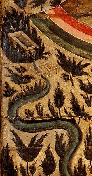 Błogasławione wojsko Niebieskiego Cara - detal Rajska rzeka Źródło: Błogasławione wojsko Niebieskiego Cara - detal, ok. 1550-1560, Tretyakov Gallery, Moscow, domena publiczna.