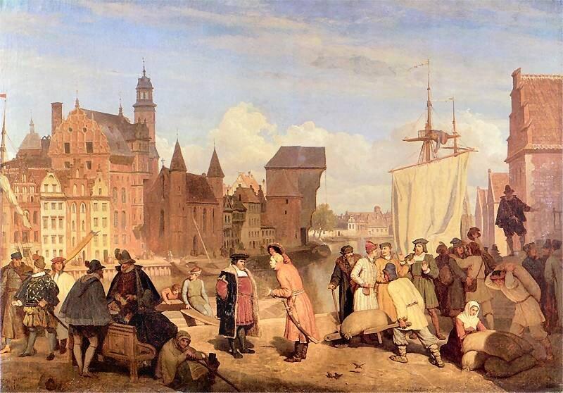 Gdańsk wXVII wieku Port wGdańsku Źródło: Wojciech Gerson, Gdańsk wXVII wieku, 1865, domena publiczna.