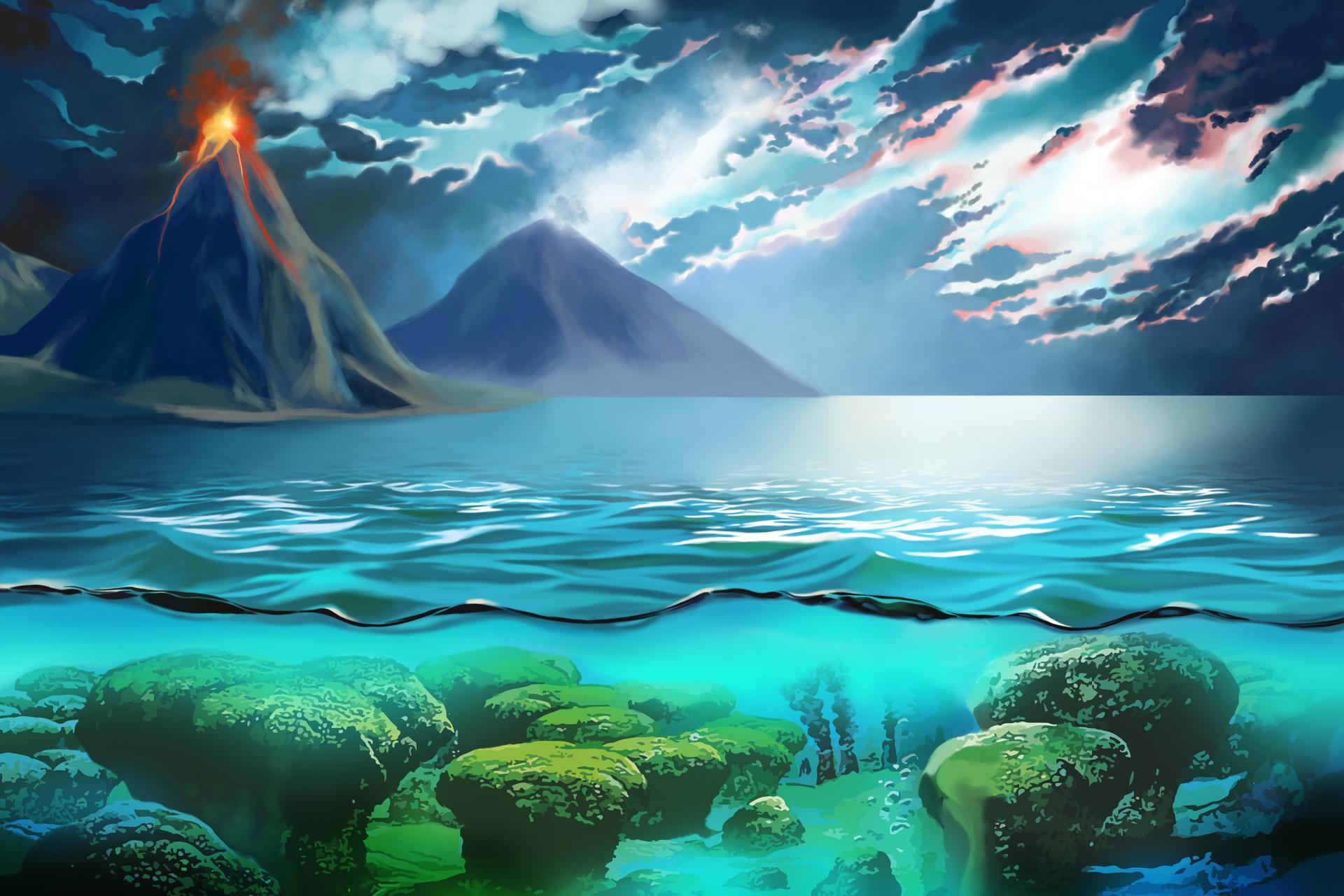 Wygląd powierzchni Ziemi ioceanu sprzed 3,7 mld lat. Woceanie wapienne konstrukcje (stromatolity). Wybuch wulkanu.