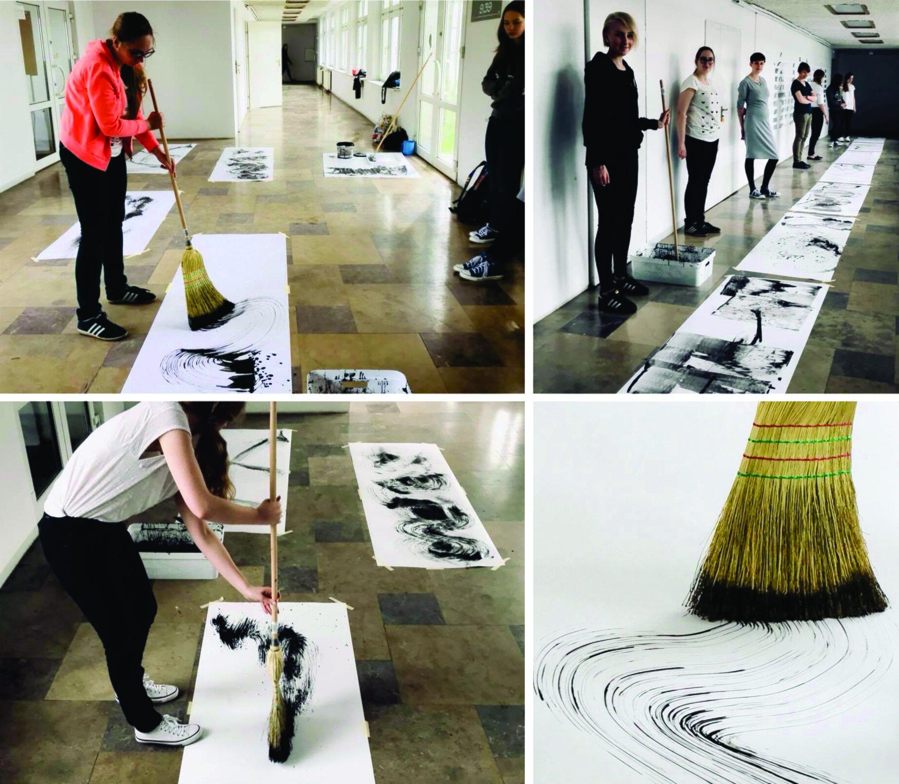 Ilustracja przedstawiająca studentów tworzących pracę plastyczną za pomocą miotły.