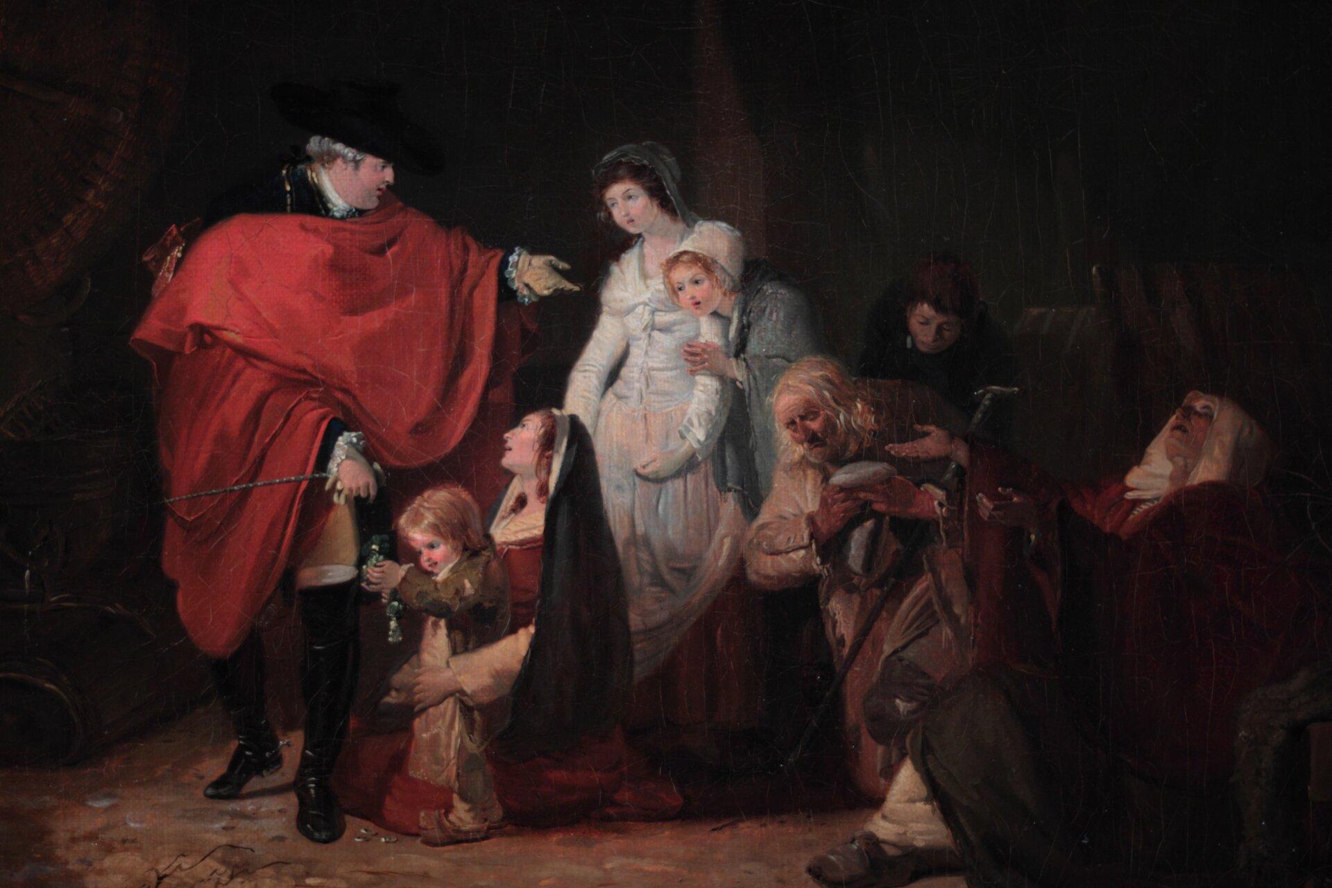 Na obrazie przedstawiona została grupa postaci. Wśród nich, jako pierwsza zlewej strony obrazu, dumna postać mężczyzny znarzuconym na ramiona czerwonym płaszczu, obok niego grupa stojących iklęczących osób wróżnym wieku.