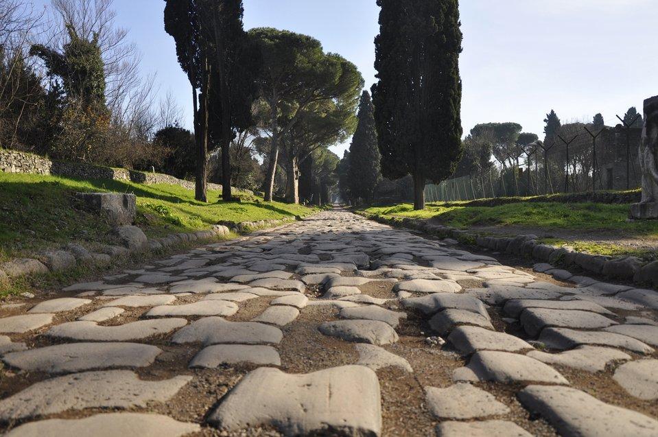 Ilustracja przedstawiająca rzymską drogę