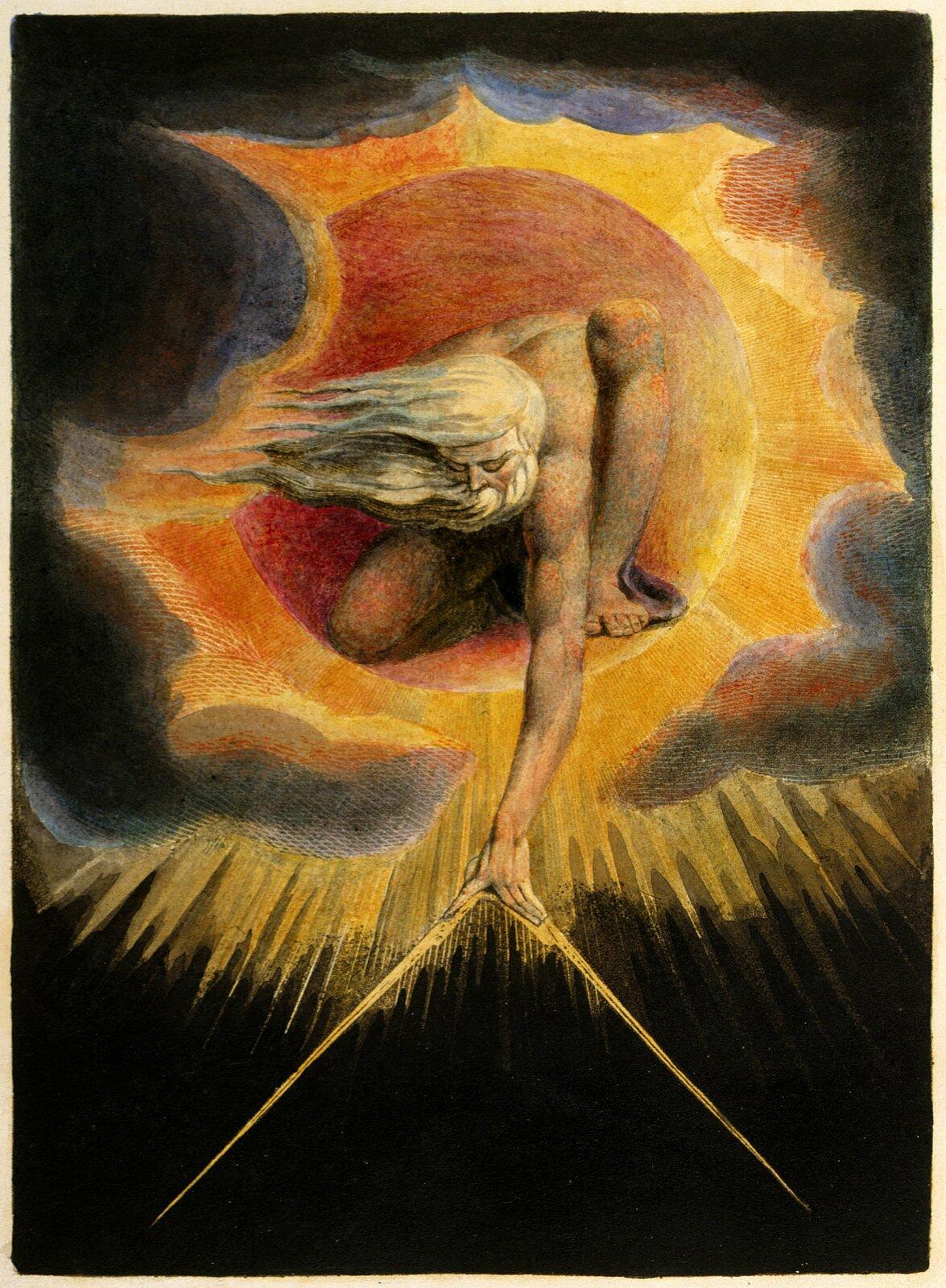 """Pan Stworzenia 2. Źródło: William Blake, Pan Stworzenia, 1794, grafika (frontyspis księgi """"Europa: Proroctwo""""), British Museum, Londyn , domena publiczna."""