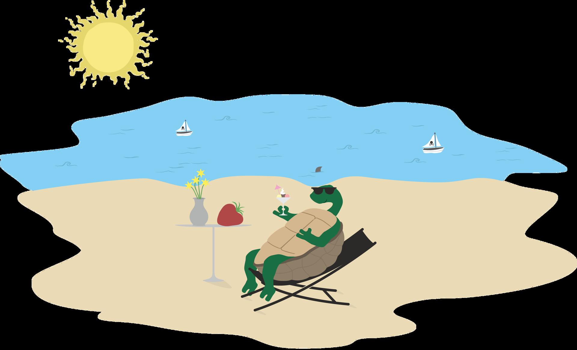 rysunek żółwia na plaży - grafik Źródło: Contentplus.pl sp. zo.o., licencja: CC BY 3.0.