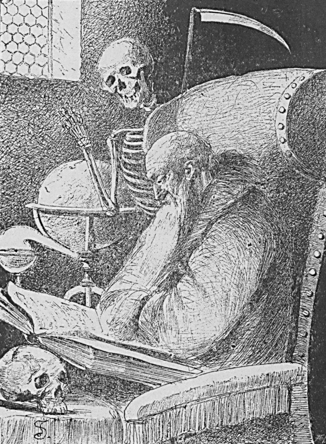 Bajki I. Krasickiego ilustrowane (Filozof) Źródło: Józef Wincenty Kruszewski, Bajki I. Krasickiego ilustrowane (Filozof), 1886, domena publiczna.