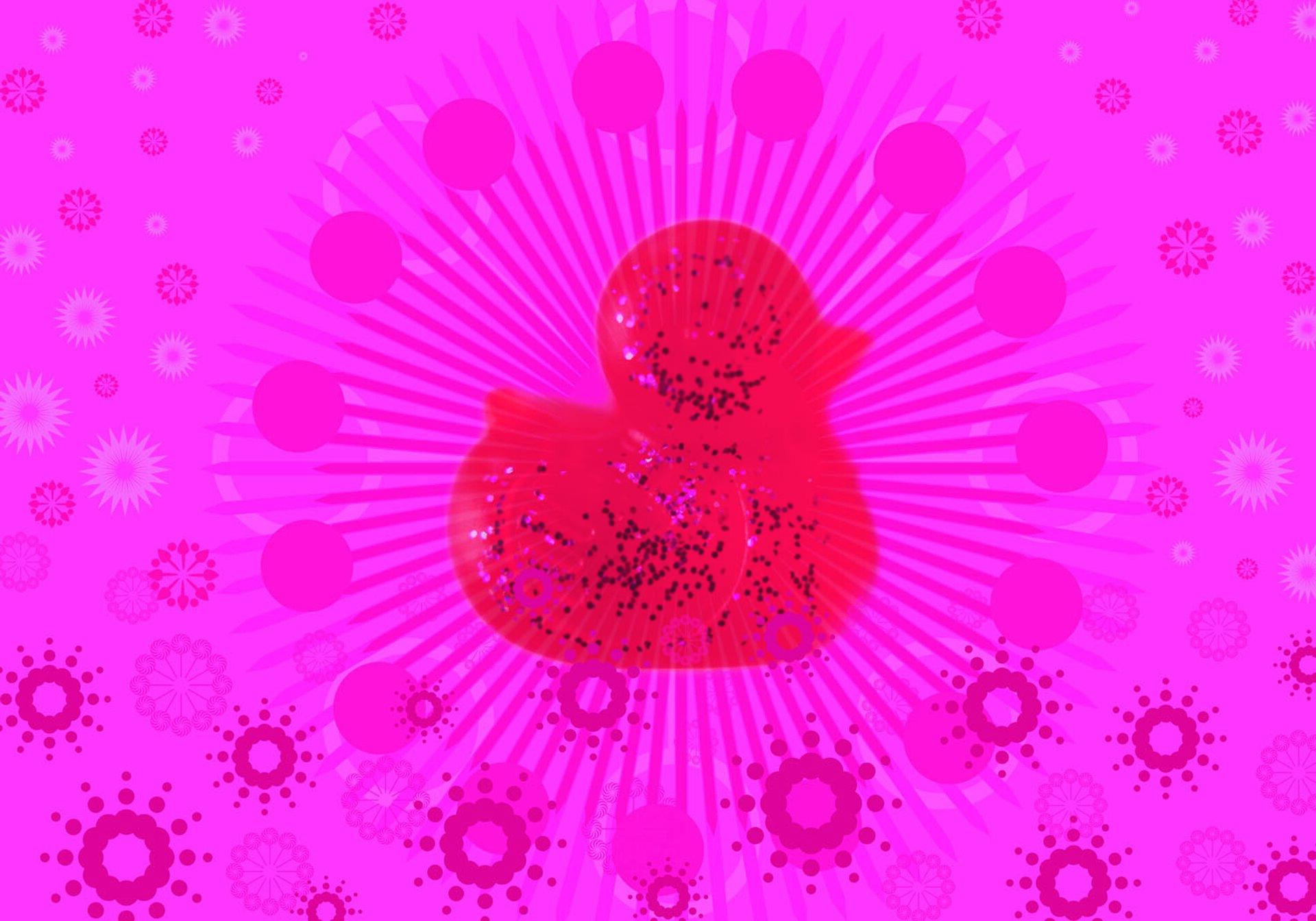 """Ilustracja przedstawia grafikę cyfrową """"Pink 5"""" autorstwa Agaty Dworzak-Subocz. Wcentrum różowej kompozycji znajduje się sylwetka czerwonej, gumowej kaczuszki, której wnętrze wypełniają drobne, czarno-różowo-białe kropeczki. Od kaczki odchodzą promienie, naokoło wirują kółka oraz uproszczone kwiatki wróżnych odcieniach różu. Praca została wykonana wwąskiej różowo-czerwonej gamie barw zdrobnymi elementami czerni."""