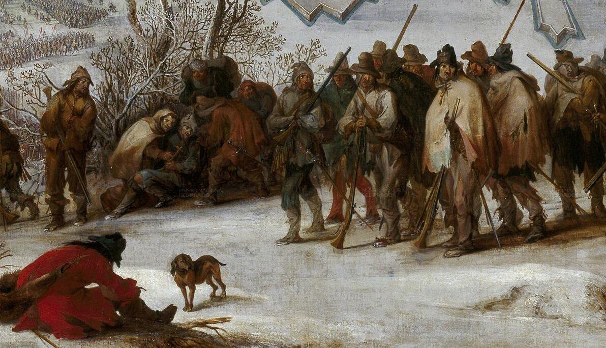 Oblężenie Aire sur la Lys (fragment) Wstyczniu 1601 roku, zaraz po zdobyciu Dorpatu (obecnie Tartu, Estonia) przez Szwedów, inna armia zaatakowała Polaków iLitwinów obozujących pod Kiesią (obecnie Cēsis, Łotwa). Jazda szwedzka chciała zastosować karakol, czyli manewr polegający na podjechaniu wkilkunastoszeregowym szyku jak najbliżej nieprzyjaciela iostrzelaniu go zbroni palnej: trzy pierwsze szeregi jazdy oddawały strzał zpistoletu zjednej ręki, po czym kawalerzyści obracali się wmiejscu ioddawali strzał zdrugiej ręki - żołnierze zdrugiego itrzeciego szeregu strzelali przez luki; następnie wycofywały się, awich miejsce wchodziły następne trzy szeregi. Ich pech, że nie wzięli pod uwagę husarii. Szarża ciężkiej jazdy zmusiła wojska szwedzkie do odwrotu. Gdy chcieli uciekać przez zamarzniętą rzekę Gawię (obecnie Gauja), lód pękł, co było przyczyną dużych strat po stronie Szwedów. Sukces nie został wogóle wykorzystany, gdyż nieopłacone wojsko litewskie rozeszło się po kraju, szukając żywności igrabiąc mieszkańców. Zpodobnymi sytuacjami mieliśmy do czynienia parokrotnie wtej wojnie. Nie była to jednak specyfika polska - zreguły stosowano zasadę, że żołnierz ma się wyżywić sam wtrakcie kampanii. Zapasy odnajdywano mijanych miastach iwioskach, aże armie były dużo liczniejsze niż miejscowości, jeszcze pierwsze szeregi przechodzących wojsk mogły na coś liczyć, ostatnim pozostawała nadzieja jeszcze na jakąś ostatnią suchą skibkę. Wkronikach wojny trzydziestoletniej można wyczytać, że wojsko wyjadło nawet nasturcje zdoniczek. Głodujący żołnierze na obrazie są wprawdzie Hiszpanami wojującymi na północyFrancji, ale zpodobnymi obrazami można było się spotkać iwtrakcie wojen prowadzonych przez Rzeczpospolitą. Źródło: Pieter Snayers, Oblężenie Aire sur la Lys (fragment), 1667, olej na płótnie, Prado, domena publiczna.