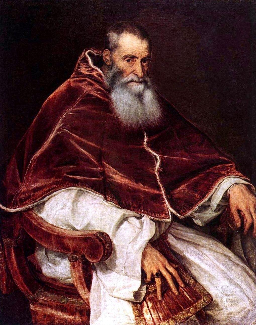 Paweł III (Aleksander Fernese – 1539-1549) Źródło: Titian, Paweł III (Aleksander Fernese – 1539-1549), 1545-1546, olej na płótnie, Museo di Capodimonte, domena publiczna.