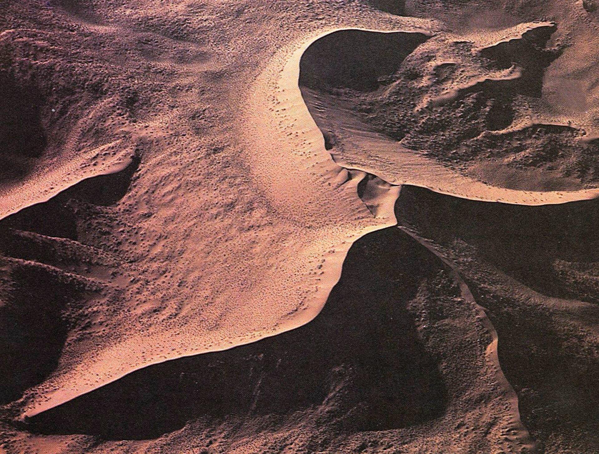 Na zdjęciu widok na wydmę gwiaździstą zlotu ptaka. Kilka wydm oróżnym położeniu styka się jednym końcem, tworząc kształt gwiazdy.