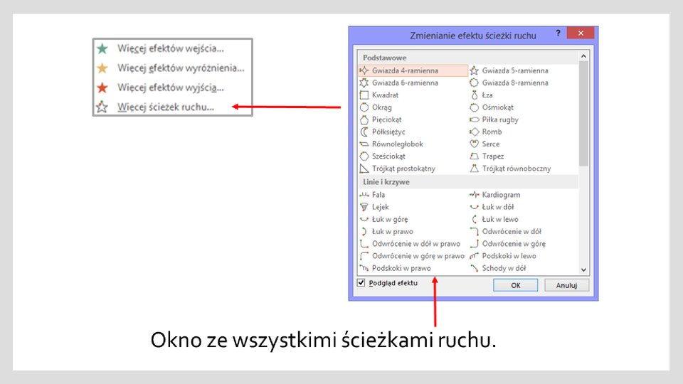 Slajd 2 galerii zrzutów okien zefektami ścieżek ruchu wprogramie MS PowerPoint
